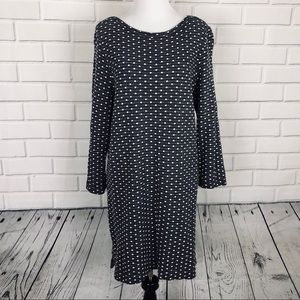 Lands End Polka Dot Navy Dress Textured sz M 10-12